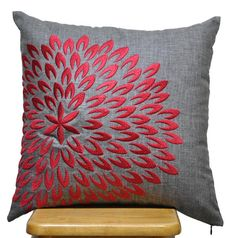 Red Petal Flower Pillow Cover, Decorative Throw Pillow Cover, Ash Grey Linen Pillow Red Flower, Grey Cushion Cover , Pillow Case 18 x 18