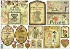 Ricepaper/Decoupage paper,Scrapbooking Sheets  Vintage Corsets