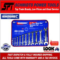 Spanners made for life is what you get when you buy a kincrome spanner set.  With everything you could need for most jobs all in one easy to find location.  The new Metric and Imperial Spanners sets are the highest quality money can buy.  Kincrome is aussie owned and supplied from right here in Melbourne.