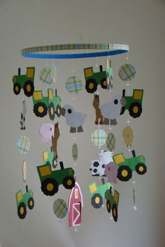 John Deere Baby Bedding | John Deere Tractor Farm Animal Barn Baby Mobile by magicalwhimsy