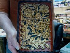 Note Book / Sheridan Oak Leaf and Acorn, Hand carved and Tooled / Leather, Portfolio, Note Book