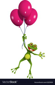 Frog in balloons Royalty Free Vector Image - VectorStock Funny Frogs, Cute Frogs, Tree Frog Tattoos, Frog Logo, Balloon Clipart, Porch Paint, Frog Drawing, Frog Art, Green Frog
