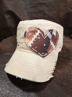 Football Mom Patchwork Crystal Vintage Style Khaki Cadet Cap on Etsy