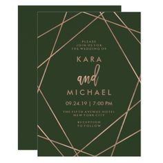 Faux Rose Gold Geometric | Deep Green Wedding Card - rose gold style stylish diy idea custom