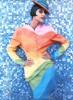 """Mosaic Brights"" editorial, Harpers & Queen, 1988 - Gisele Zelauy, photograph by Mario Testino"