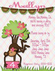 Deb's Party Designs - Pink Monkey Birthday Invitation , $1.00 (http://www.debspartydesigns.com/pink-monkey-birthday-invitation/)