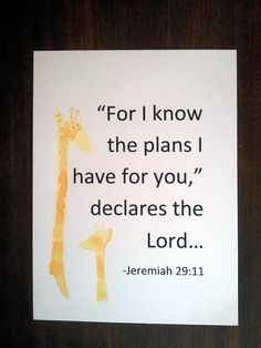 """Baby bible nursery wall art """"'For I know the plan i have for you,' declares the Lord."""""""