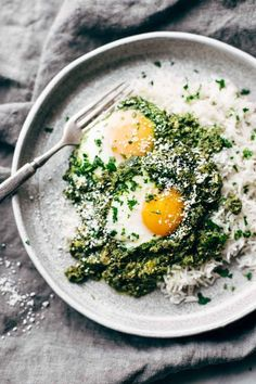 creamy green shakshuka with rice /