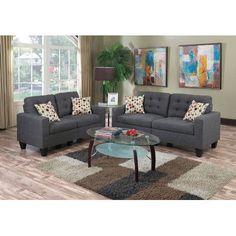 Infini Furnishings Sofa and Loveseat Set Upholstery: Blue Gray