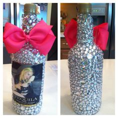 Put rhinestones and your friends pic on their favorite bottle of liquor for her birthday! love this