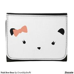 Pink Bow Bear Leather Trifold Wallet