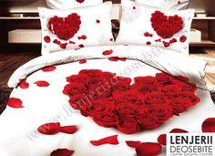 wedding red rose heart bedding set queen size doona duvet cover bedsheets white Bed Linen bedclothes and pillowcases sets Bed Comforter Sets, 3d Bedding Sets, Girls Bedding Sets, Queen Bedding Sets, Blue Comforter, Girl Bedding, Comforter Cover, Bed Sets, Bed Sheet Sets
