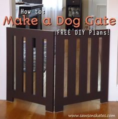 Looking for homemade pet gate ideas that look store bought and that your doggies will love? Check out this indoor DIY plan for a folding free standing dog gate. It's decorative enough to leave out and neatly folds when not in use. Diy Dog Fence, Diy Dog Gate, Pet Gate, Puppy Gates, Doggie Gates, Indoor Dog Gates, Cheap Dog Kennels, Diy Pet, Dog Kennel Cover