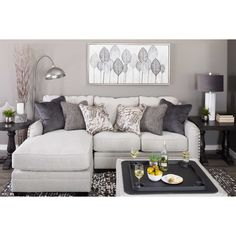 Picture of Dellara Sectional with LAF Chaise Small Living Room Layout, Small Living Rooms, Home Living Room, Living Room Decor, Sectional Sofa With Chaise, Living Room Sectional, Small Couch With Chaise, Modular Sectional Sofa, Muebles Living