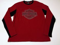 Harley Davidson XL T-Shirt South Bend IN Long Sleeve Red Black #HarleyDavidson #GraphicTee