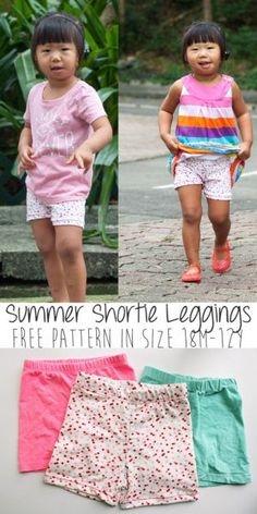 shortie-leggings-free-pattern-perfect for summer size 18M-12Y from Nap-Time Creations