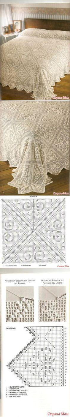 Follow the diagram below the bedspread to make the filet crochet pattern