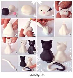 Wonderful Clay Art Ideas Cat wedding topper fondant tutorial It might be fondant but I'm sure you can make it with polymer clay too =D Polymer Clay Animals, Fimo Clay, Polymer Clay Projects, Polymer Clay Creations, Polymer Clay Halloween, Polymer Clay Ornaments, Cat Fondant, Fondant Animals, Fondant Bow