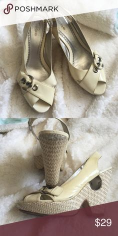 Bebe ivory wedges with silver hardware Fair condition, patent leather and wicker wedge heel, with buckle at toe and metal hole through wedge bebe Shoes Wedges