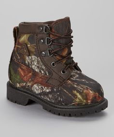 Take a look at this Dark Brown Camo Ankle Boot - Kids by ROCKY on #zulily today!