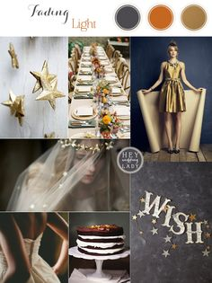 Faded Light - Muted Metallic Wedding Inspiration in Orange, Umber, Gray, and Navy