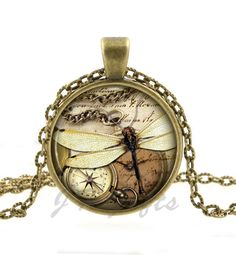 Dragonfly Necklace - Steampunk Jewelry - Compass Pendant - Vintage Bronze Jewelry Art Fashion Gifts for Women and Men on Etsy, $12.95