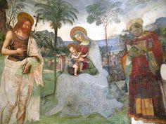 Pinturicchio. Madonna and Child. fresco, Cattedrale di Santa Maria Assunta, Cappella del Vescovo Costantino Eroli (Cathedral of the Assumption of St. Mary, Chapel of Bishop Costantino Eroli), Spoleto, 1497