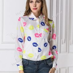 Summer Casual Purity Lips Long Sleeve Shirt Chiffon Shirt Blouse DCD-421185