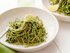 Kale and Pistachio Pesto Spaghetti  Not the usual pesto, this version is packed with nutrient-dense kale along with parsley and pistachios and then tossed with whole-wheat spaghetti.  Read more at: http://www.foodnetwork.com/healthy-eating/healthy-italian-dishes/pictures/page-11.html?soc=rotd_20131014_13106264&oc=linkback