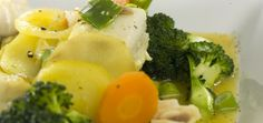 fiskegryte med sei, brokkoli, gulrot og safran