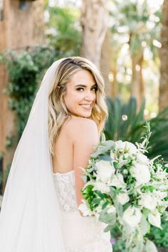 """From the editorial """"A Classic Meets Playful Palm Desert Wedding at Empire Polo Club."""" From her dress to her bouquet, this bride looked absolutely stunning. Head to SMP to see her full wedding day look! Photography: @katieshuler  #brideinspo #weddingday #bridalbeauty #bridefashion Vintage Wedding Theme, Chic Wedding, Green Wedding, Rustic Wedding, Bride Portrait, Wedding Portraits, Bridal Beauty, Wedding Beauty, New York Bride"""