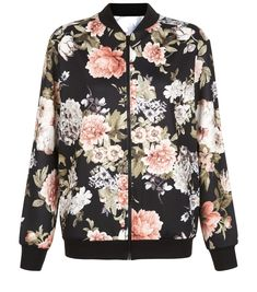New Look Cameo Rose Floral Print Scuba Bomber Jacket Floral Bomber Jacket, Printed Bomber Jacket, Black Bomber Jacket, Print Jacket, Bomber Jackets, Coats For Women, Jackets For Women, Cameo, Cardigan