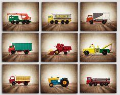 ON SALE Vintage Matchbox Work Trucks, Set of Nine Photo prints, Nursery Decor, Rustic Decor Toy Cars, Baby room ideas, Boys Room Decor,