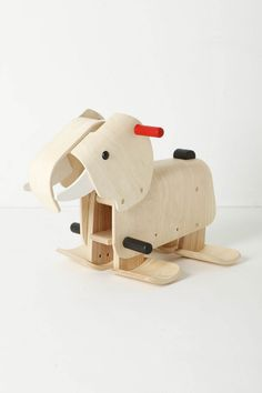Walking Elephant Walker: Mimics an elephant's gait. Made of recycled rubberwood. $268 #Elephant #Toys #Elephant_Rocker