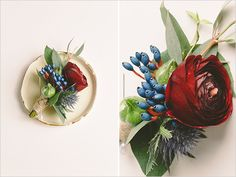 deep red and blue boutonniere