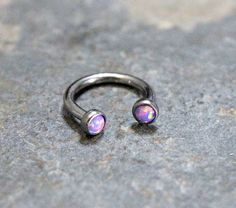 Purple Opal Fire Hoop 16G Lip by Purityjewel on Etsy