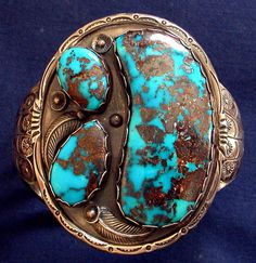 VINTAGE NAVAHO THREE PERSIAN TURQUOISE SILVER CUFF