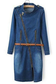 Off-center Zipper Denim Dress OASAP.com