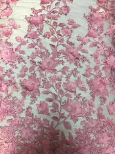 Pink 3D Embroidered Satin Floral Pearl Wedding Prom Formal   Etsy Mesh Fabric, Lace Fabric, Sequin Wedding, Formal Prom, Silver Fabric, White Satin, Pearl And Lace, Fashion Fabric, Floral Design