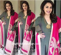 One of Madhuri Dixit's outfits for the Young President's meet that she attended recently was a salwar suit by Vineet Rahul. Madhuri Dixit, Pakistani Suits, Punjabi Suits, Ethnic Fashion, Indian Fashion, Modest Dresses, Nice Dresses, Bollywood Saree, Saree Dress