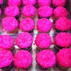 Hot pink rock candy cupcakes