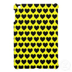 $43.15 Bumblebee Hearts iPad Mini Cases. Cute yellow and black themed case, black hearts on yellow background. Bee, bees, wasp, yellow jacket.