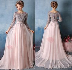 Exquisite Evening Gowns A-Line Scoop 3/4 Length Sleeves Appliques Court Train Evening Dress Cheap Peach Tulle Free Shipping