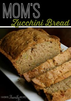 This is the best zucchini bread!  Our mom made this recipe all the time with fresh zucchini from her garden.