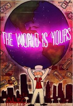 """Alec Monopoly """"The world is yours"""" oil painting on canvas large wall picture by uniqueartdesings on Etsy"""