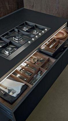 Moderne bestek lade voor in de échte design keuken #keuken #lade #bestek