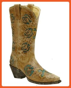 Corral Women's Antique Saddle-Turquoise Rose & Cross Boot - R2363 - Boots for women (*Amazon Partner-Link)