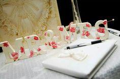 Mr & Mrs decoupage wedding sign floral vintage shabby