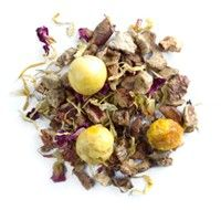 Midsummer Night's Dream from David's Tea-    Summer love  This citrusy-mint tea is refreshingly magical, with sweet apples, cool spearmint, tart gooseberries, orange oil, and petals of marigold and rose. But before you take a sip, we should probably warn you that it's a bit of a love potion. For some people, it seems to turn regular summer evenings into dreamlike nights of romance and enchantment. Ice it and see what happens. Caffeine-free.