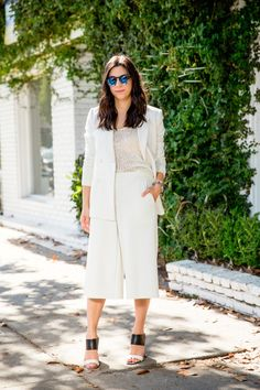 all-white way to wear culottes to work